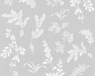 A.S. Création papier peint «Fleurs, gris» 366932
