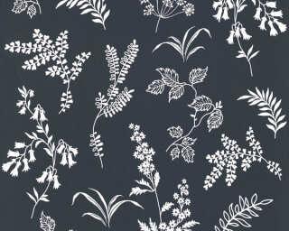 A.S. Création Wallpaper «Flowers, Black, White» 366933