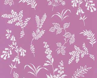 A.S. Création papier peint «Fleurs, blanc, violet» 366936