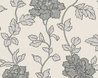 A.S. Création Wallpaper «Flowers, Cream, Grey, Metallic, Silver» 366951