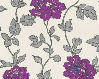 A.S. Création Wallpaper «Flowers, Cream, Metallic, Purple, Silver» 366954