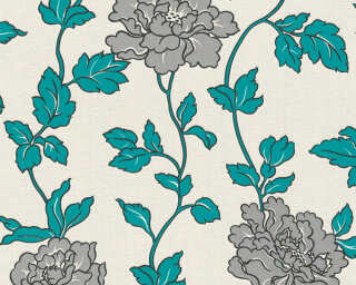 A.S. Création Wallpaper «Flowers, Blue, Cream, Metallic, Silver» 366955