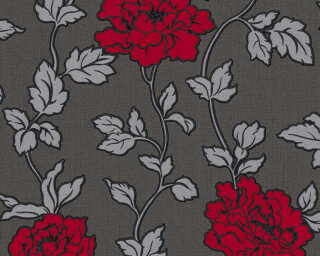 A.S. Création Wallpaper «Flowers, Black, Metallic, Red, Silver» 366957