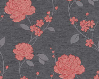 A.S. Création Wallpaper «Flowers, Black, Metallic, Red» 367013