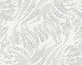 A.S. Création papier peint «Graphique, Floral, blanc, gris, métallique» 367031