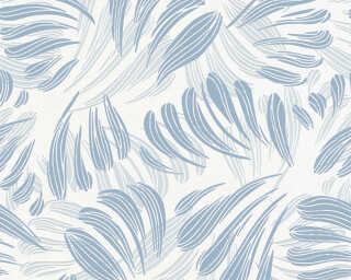 A.S. Création papier peint «Graphique, Floral, blanc, bleu, métallique» 367032