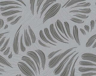 A.S. Création papier peint «Graphique, Floral, gris, métallique, noir» 367035