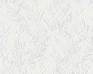 A.S. Création papier peint «Floral, blanc, gris» 367121