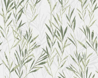 A.S. Création Wallpaper «Floral, Green, White» 367123