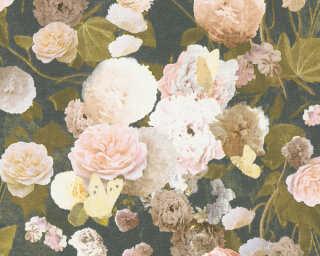 Livingwalls papier peint «Maison, Fleurs, crème, jaune, noir, rose» 367171