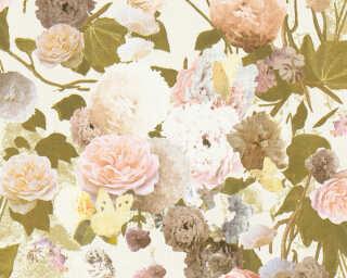 Livingwalls papier peint «Maison, Fleurs, beige, crème, jaune, rose» 367172