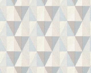 A.S. Création papier peint «Graphique, bleu, gris, marron» 367231