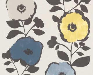 A.S. Création papier peint «Fleurs, beige, bleu, gris, jaune» 367241