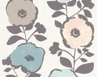 A.S. Création Wallpaper «Flowers, Beige, Blue, Brown, Grey» 367243
