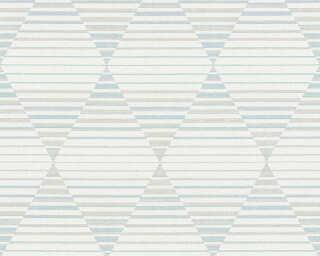 A.S. Création papier peint «Graphique, beige, blanc, bleu, gris» 367572