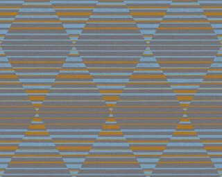 A.S. Création papier peint «Graphique, bleu, gris, marron, noir» 367573