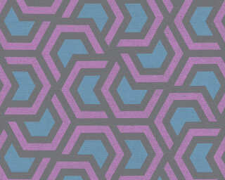 A.S. Création papier peint «Graphique, bleu, noir, violet» 367601