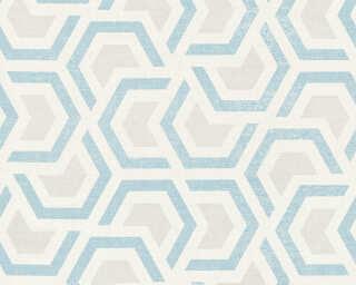 A.S. Création papier peint «Graphique, beige, blanc, bleu, gris» 367603