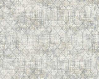A.S. Création papier peint «Graphique, blanc, bleu, gris» 367712