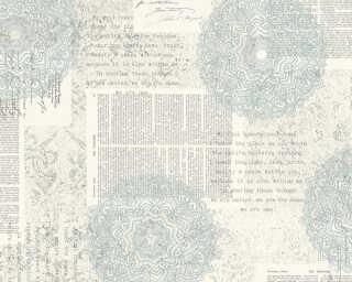 A.S. Création papier peint «Baroque, blanc, bleu, gris» 367752