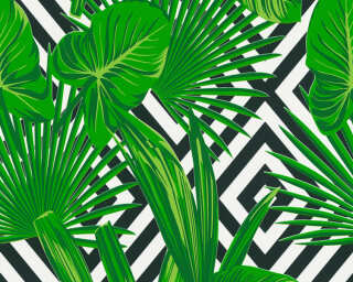 A.S. Création papier peint «Graphique, Floral, blanc, noir, vert» 368112