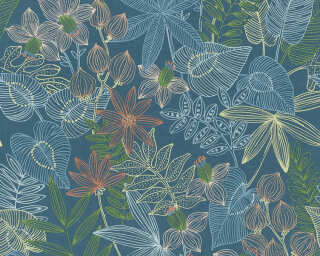 Livingwalls Designpanel «Grafik, Floral, Beige, Blau, Braun, Creme» 368291