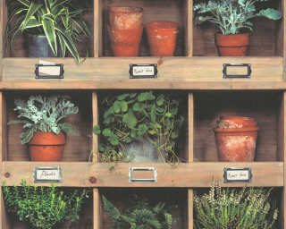 Livingwalls panneau «Maison, Floral, beige, crème, marron, vert» 368341
