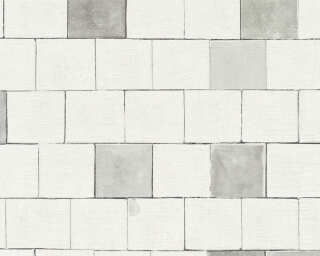 A.S. Création Wallpaper «Tile, Grey, White» 368551
