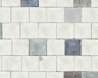 A.S. Création papier peint «Tuile, blanc, bleu, gris, noir» 368552