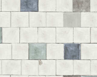 A.S. Création Wallpaper «Tile, Black, Blue, Grey, White» 368552