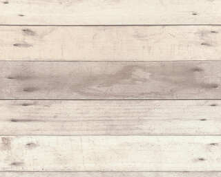 A.S. Création Wallpaper «Wood, Cottage, Beige, Cream, Grey, Taupe» 368702