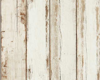 A.S. Création Wallpaper «Wood, Cottage, 3D, Black, Brown, Cream» 368931
