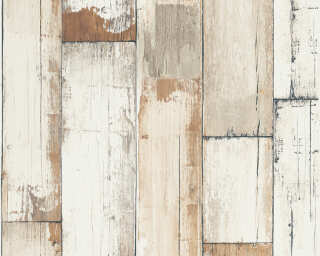 A.S. Création Wallpaper «Wood, Cottage, Black, Brown, Cream, White» 368941