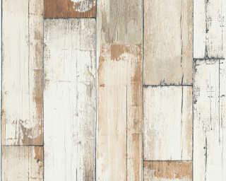 A.S. Création papier peint «Bois, Maison, blanc, crème, marron, noir» 368941