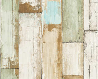 A.S. Création Wallpaper «Wood, Cottage, 3D, Beige, Blue, Brown, Cream» 368942