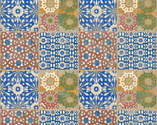 A.S. Création Wallpaper «Tile, 3D, Beige, Blue, Brown, Green» 368951
