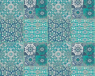 A.S. Création Wallpaper «Tile, 3D, Black, Blue, Green, Grey» 368953