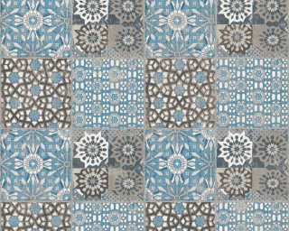 A.S. Création Wallpaper «Tile, Black, Blue, Grey» 368955