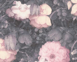 Livingwalls Wallpaper «Baroque, Flowers, 3D, Black, Green, Grey, Pink» 369212