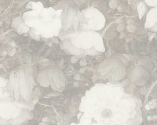 Livingwalls Wallpaper «Baroque, Flowers, 3D, Grey, White» 369214