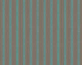 A.S. Création papier peint «Rayures, bleu, marron, turquoise, vert» 370013