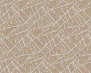 A.S. Création papier peint «Graphique, crème, marron, métallique» 370035