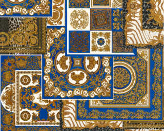Versace Home Wallpaper «Baroque, Black, Blue, Gold, Metallic» 370481