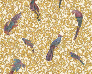 Versace Home Wallpaper «Baroque, Flowers, Blue, Brown, Cream, Gold» 370532