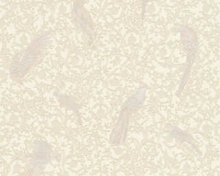 Versace Home Wallpaper «Baroque, Flowers, Beige, Blue, Cream, Gold» 370535