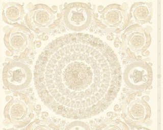 Versace Home Wallpaper «Baroque, Beige, Cream, Metallic, White» 370551