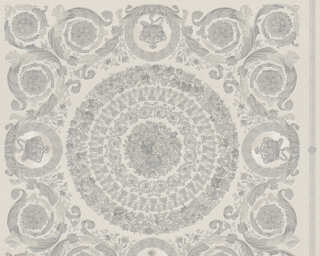 Versace Home Wallpaper «Baroque, Grey, Metallic, Silver» 370555