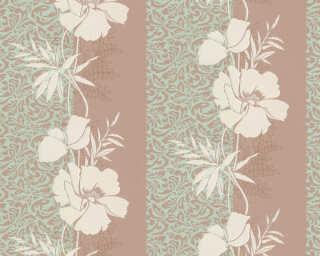 A.S. Création papier peint «Baroque, Floral, crème, marron, turquoise, vert» 370730