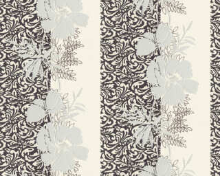A.S. Création Wallpaper «Baroque, Floral, Black, Grey, Silver, White» 370747