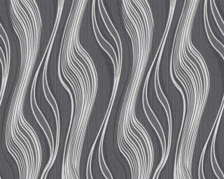 A.S. Création Wallpaper «Stripes, Black, Grey, Metallic, Silver» 371416